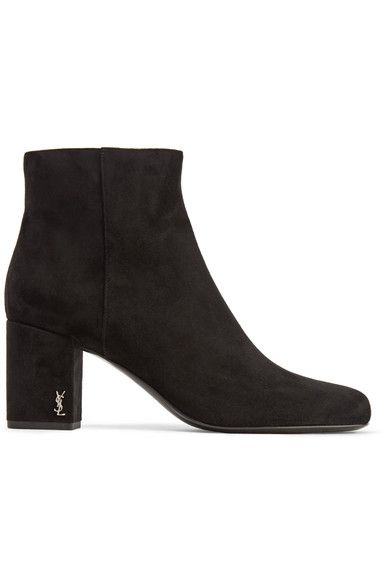 Saint Laurent - Babies Suede Ankle Boots - Black - IT42