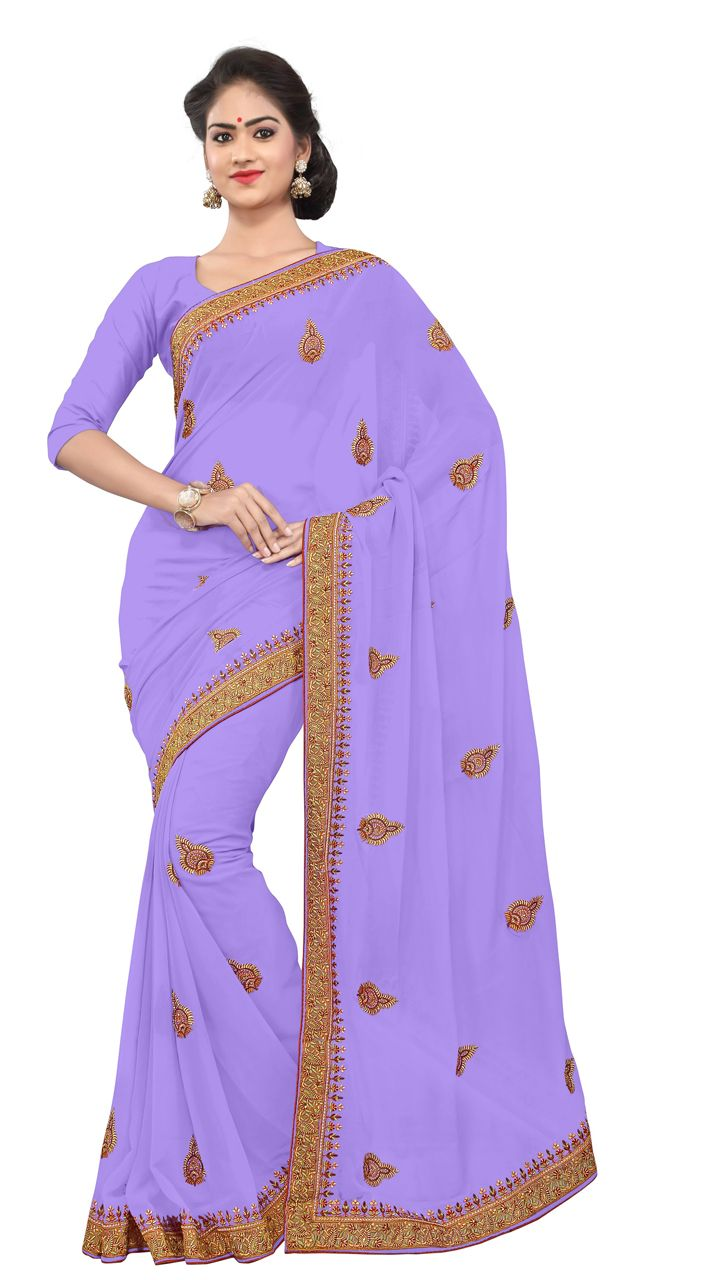 Classy Embroidered Light Purple Faux Georgette Light Work Saree
