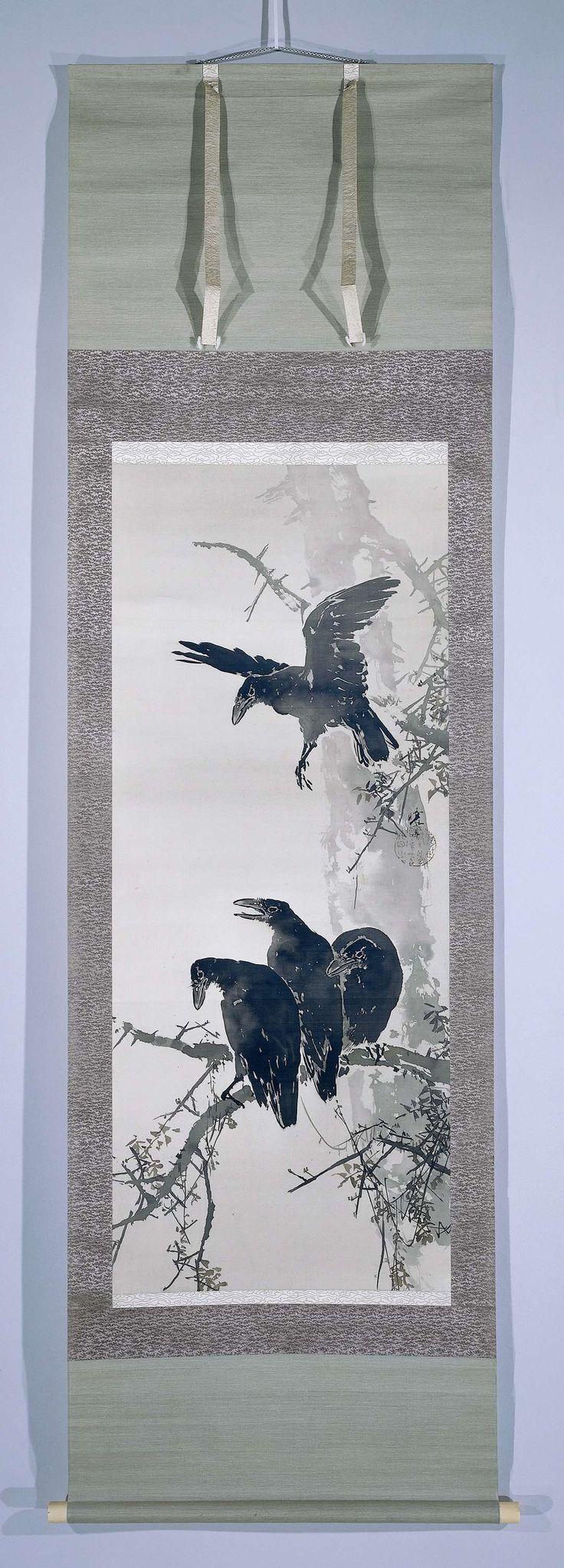 Mano Gyotei | Kraaien op boomtak, Mano Gyotei, c. 1900 - c. 1925 | Drie kraaien gezeten op een boomtak, met nog een kraai die komt aanvliegen.