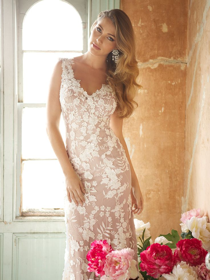 There's nothing we love more than this lace overlay beauty by Allure Bridals! #sponsored