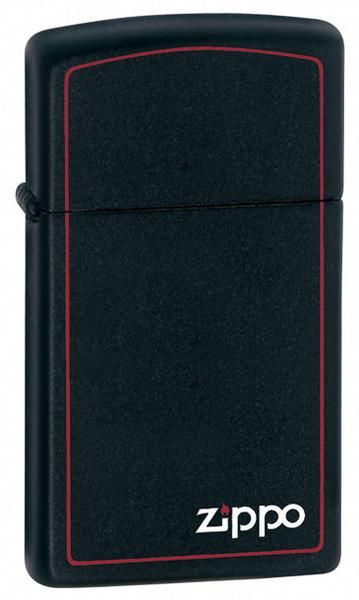 Lighters - Zippo Slim Black Matte Lighter Zippo Logo - Oxemize.com
