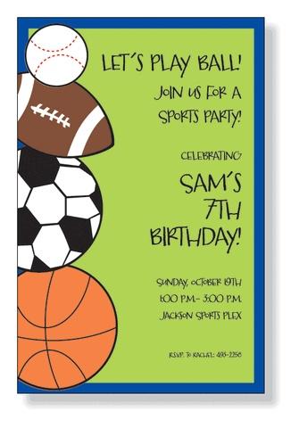sports birthday invitation