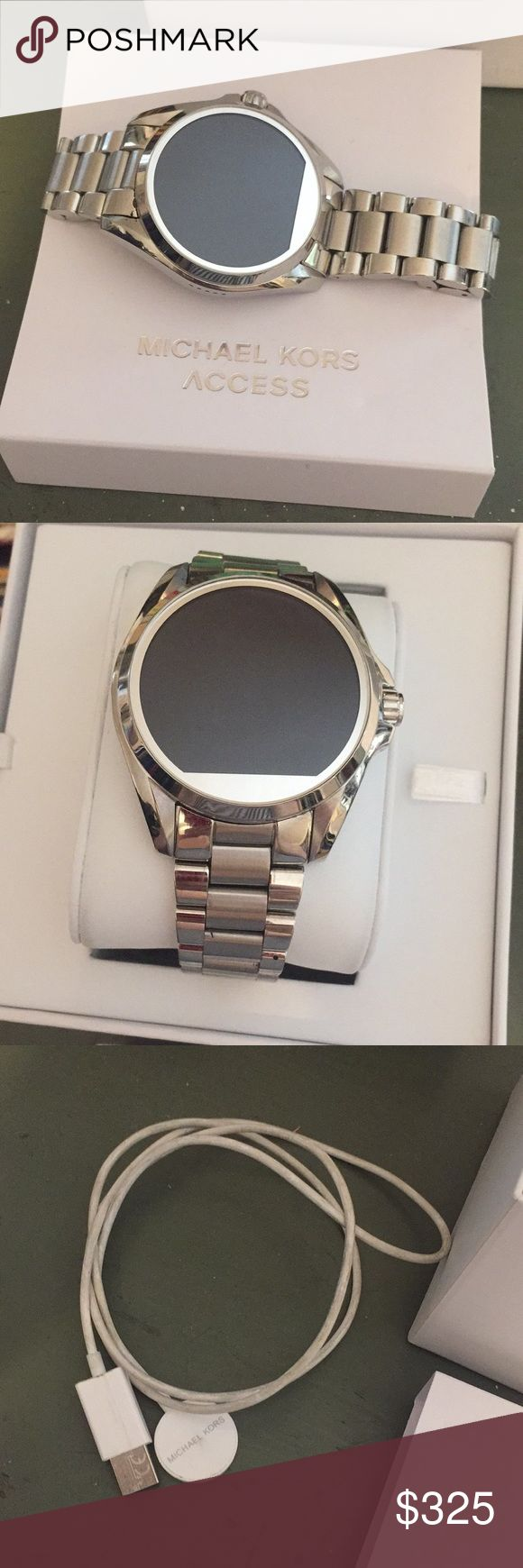 Micheal kors MK Bradshaw silver access smart watch Michael Kors Access Bradshaw Silver-Tone Smartwatch Great used condition. No scratches on the face or marks.  Worn twice. Includes the charger, box and optional clasp.  Works with Apple or android via an app.  $395 + tax I paid at the MK store.  100% authentic.  Can provide serial code. Water Resistant Up To 1 Atm Display notifications for texts, calls, emails. Tracks steps, distance, and calories.  Digital Movement  Social Media Updates…