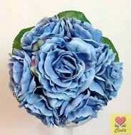 BLUE SILK ROSE PRE MADE WEDDING BOUQUET  ARTIFICIAL POSY FLOWERS