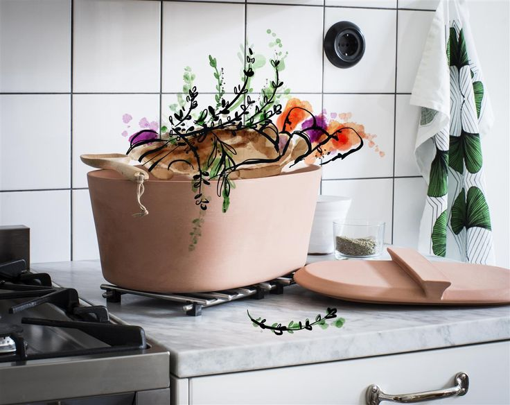 A genuine taste of traditional cooking. Simple and nutritious. With ANVÄNDBAR clay pot. It's a serving dish too. A timeless favourite with a Swedish touch. And start to live a little kinder. #Livealittlekinder #IKEAcollections #ANVÄNDBAR #IKEA #greenhomes #terracotta