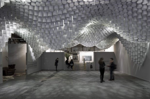 Paper Chandeliers: ARCO Madrid 2013  Madrid, Spain  A project by: Cristina Parreño Architecture     Installation