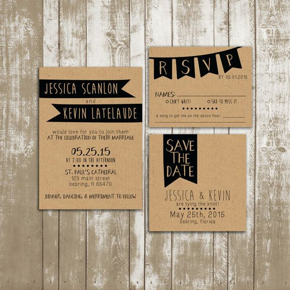 Wedding Invitation Suite, Shabby Chic, Kraft Paper, Hipster, Modern, Trendy, 2015, Simple, Buntings, Flags