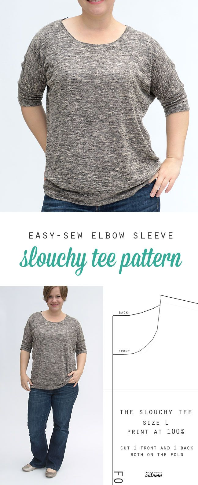 free sewing pattern for this easy women's slouchy tee in size L - with dolman elbow length sleeves