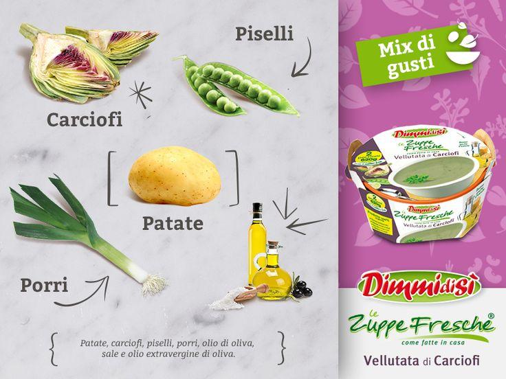 Avete già provato le nuove Zuppe Fresche #DimmidiSì? La Vellutata di #Carciofi offre un gusto delicato liberandovi della difficoltà di preparare questa verdura. Ecco gli #ingredienti con cui la prepariamo! Scopri di più: http://dimmidisi.it/it/i_prodotti/zuppe_e_brodi/zuppe/vellutata_di_carciofi/ #food #soup #zuppa #artichoke #ingredients