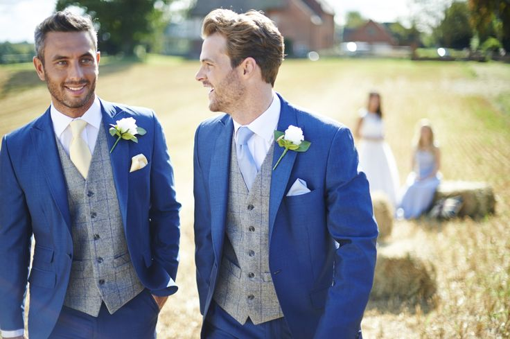 Ultra-smart blue suit with tweed waistcoat... Available at The Groom's Room.