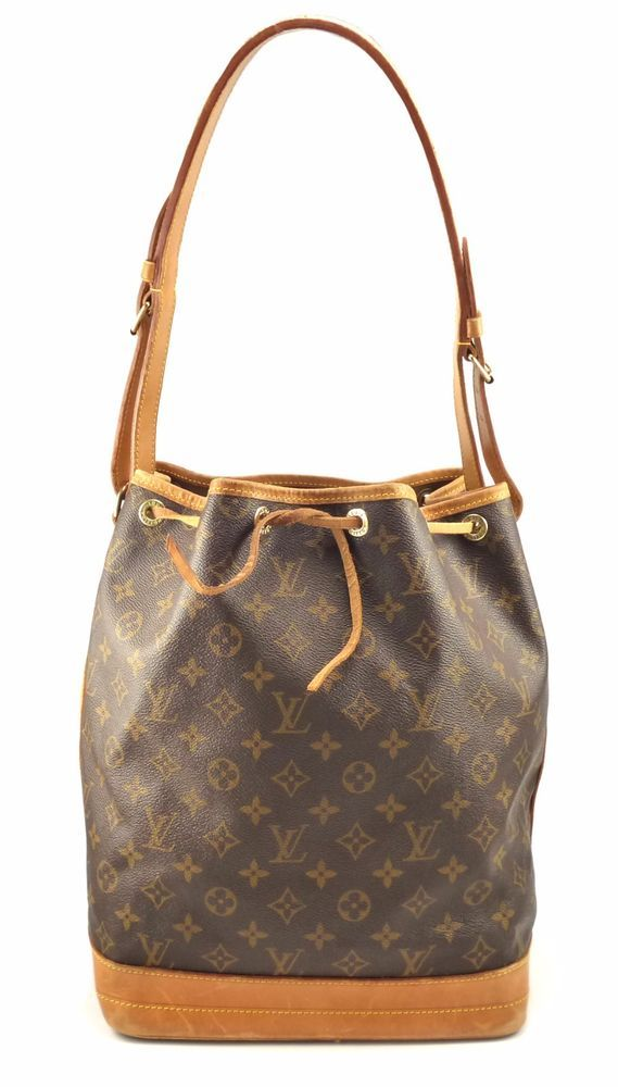 Date Code: AR1924(France 1994). LOUIS VUITTON MONOGRAM CANVAS NOE SHOULDER BAG FEATURES & MATERIALS. Brown and tan monogram coated canvas Louis Vuitton Noe with brass hardware, tan vachetta leather accents throughout, adjustable flat shoulder straps, tan interior and drawstring closure at the top. | eBay!