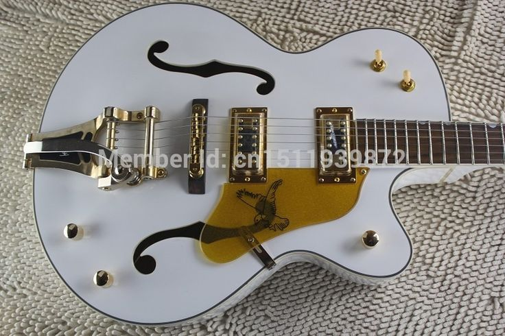 285.00$  Buy now - http://alinx9.shopchina.info/1/go.php?t=32791637170 - Factory Custom GRETSCH THE WHITE FALCON 6120 Semi Hollow Body Jazz Korean Tuners Electric Guitar With Bigsby Tremolo  #magazineonline