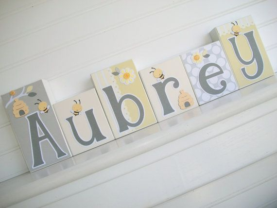 Letter Blocks . Bumble Bee. Grey and Yellow Nursery . Baby by RessieLillian.Etsy.com