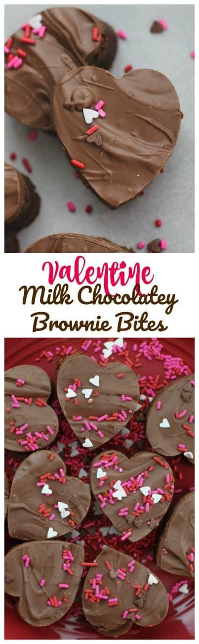 Valentine Milk Chocolatey Brownie Bites -  Sinfully, adorable Milk Chocolatey Brownie Bites topped with creamy Milk Chocolate because, it's almost Valentine's Day!#brownies #valentines day #milk chocolate #chocolate