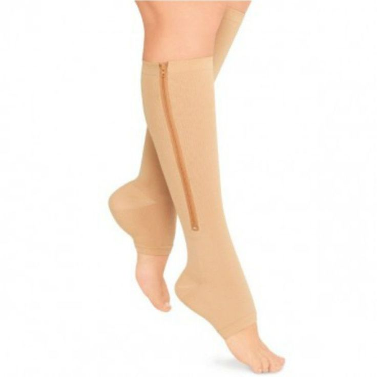 Open Toe/Zip Up Compression Socks (Nude - Large/XL), Women's, Size: Medium, Beige (polyester)