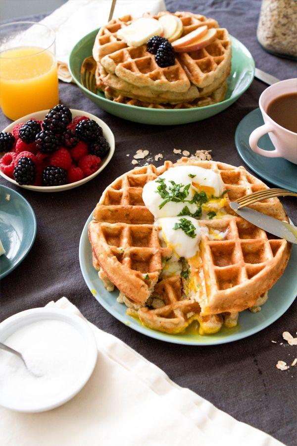 Apple Zucchini Oat Waffles Recipe | Oh Happy Day!