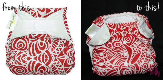 Cloth Diaper Velcro Replacement/Snap Conversion. $4.00, via Etsy.