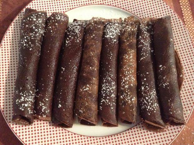 Eggless chocolate pancakes