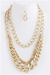 Triple Chain Layered Necklace Set