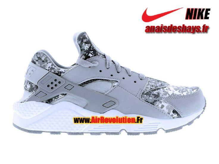 """Boutique Officiel Nike Air Huarache Run """"Snow Camo"""" Pack Homme Gris foncé/Bleu-gris/Blanc 318429-091"""