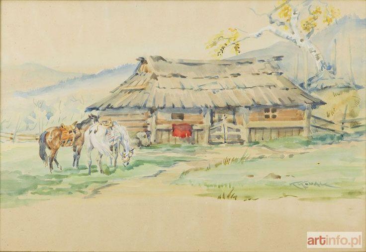 Karol KOSSAK ● Konie przed chatą ●
