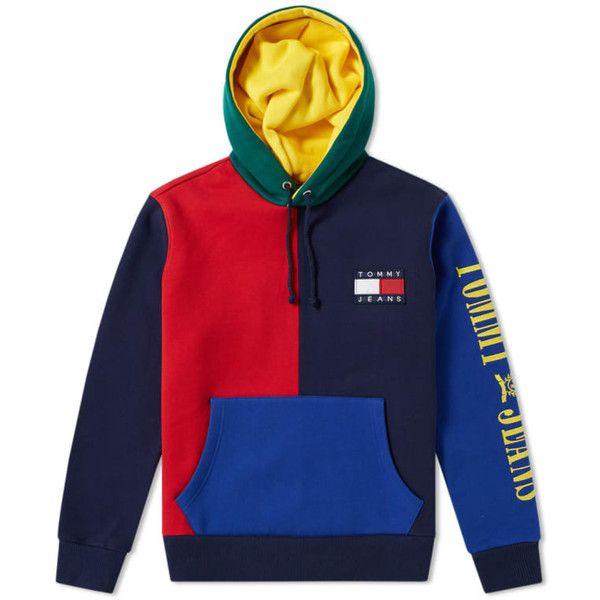 Tommy Jeans 90s Colour Block Hoody ($169) ❤ liked on Polyvore featuring tops, hoodies, color block hoodie, block top, hooded sweatshirt, colourblock hoodie and blue top