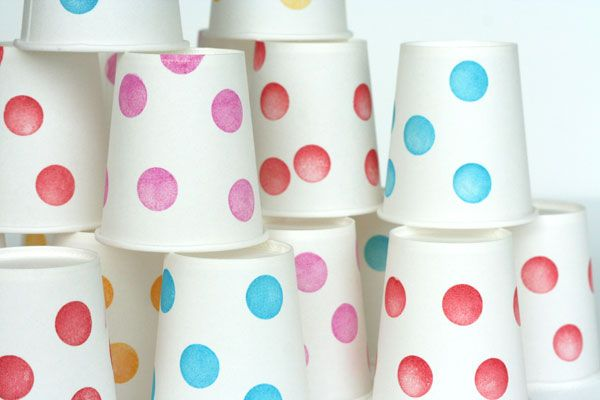 transform plain white cups with polka dot stamps