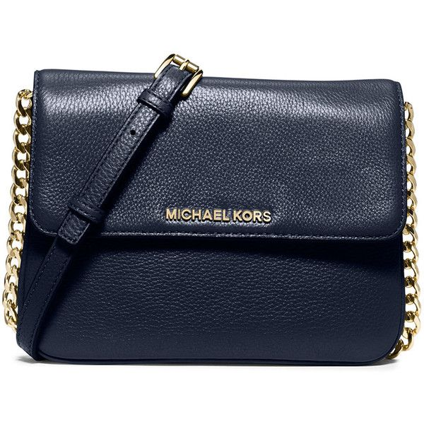 MICHAEL Michael Kors Bedford Double-Gusset Leather Crossbody Bag ($198) ❤ liked on Polyvore