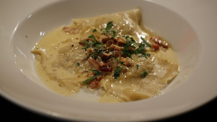 Jake and Elle's Rabbit, Pancetta and Thyme Ravioli with Truffle Cream Sauce from season 4 of My Kitchen Rules: http://gustotv.com/recipes/lunch/rabbit-pancetta-thyme-ravioli-truffle-cream-sauce-walnuts/