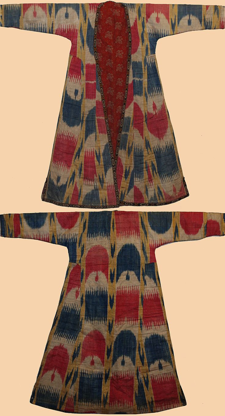 Antique Silk Ikat from Uzbekistan Central Asian Silk Ikat Robe Circa 1850