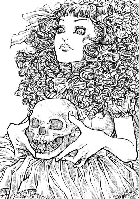 Day Of The Dead Sugar Skull Coloring Pinterest