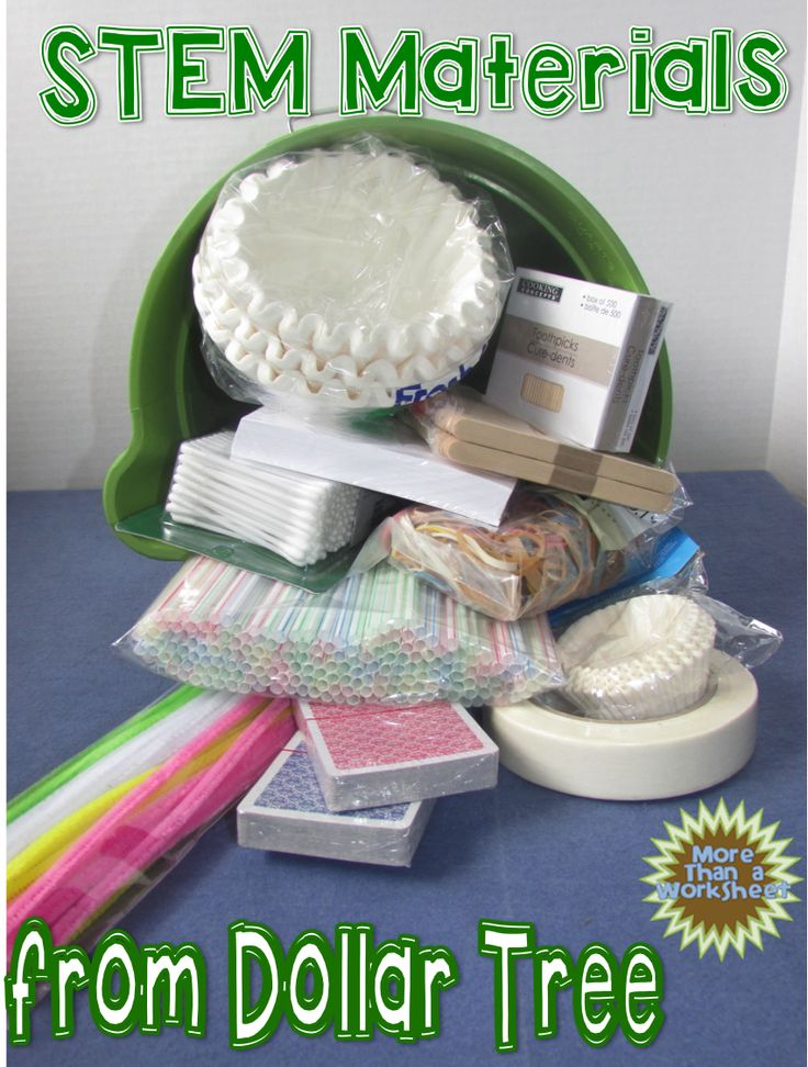 STEM Materials from Dollar Tree…ideas for building STEM kits on the cheap from More Than a Worksheet