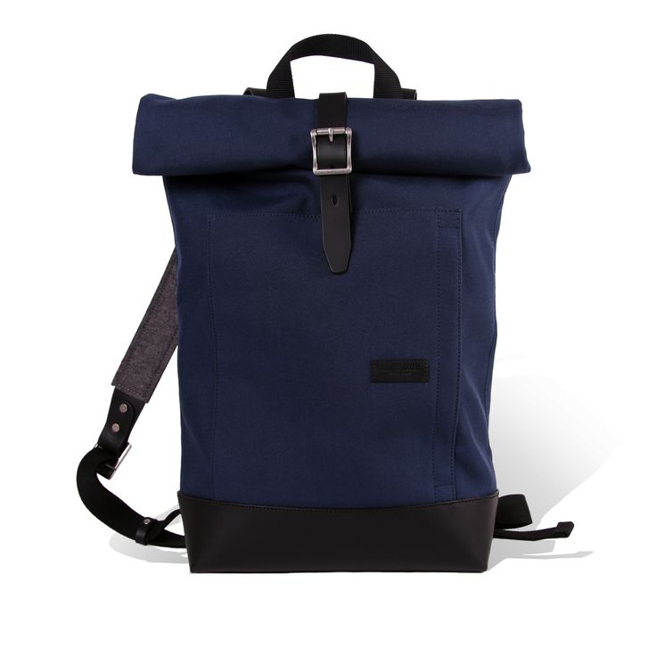 Caulaincourt Navy Backpack. - Cordura & Full grain Leather - Made in France - Ateliers Auguste