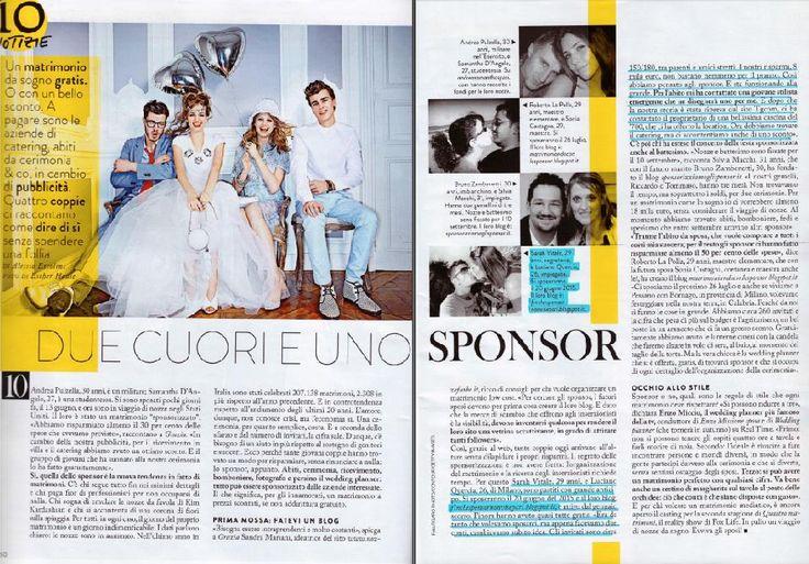 """Grazia Giovedì 19/06/2014, articolo """"Due Cuori e uno Sponsor"""" a pagina 50-51, pubblicato sul settimanale Grazia (n.26 del 25/06/2014)"""