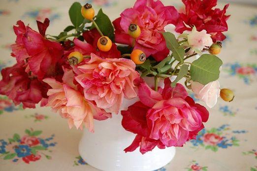 Jug of garden grown roses