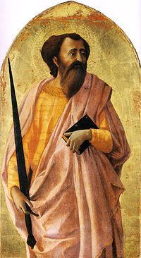 Masaccio - del Polittico di Pisa -Il San Paolo di Masaccio è un pannello del polittico di Pisa, datato 1426. L'opera, che occupava con tutta probabilità il registro superiore, misura 51x30 cm ed è una tempera su tavola a fondo oro. Dei vari scomparti è l'unico che sia rimasto a Pisa ed è conservato nel Museo nazionale di San Matteo.