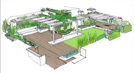 Dise o de jard n en atico dibujos croquis y planos de for Croquis jardin