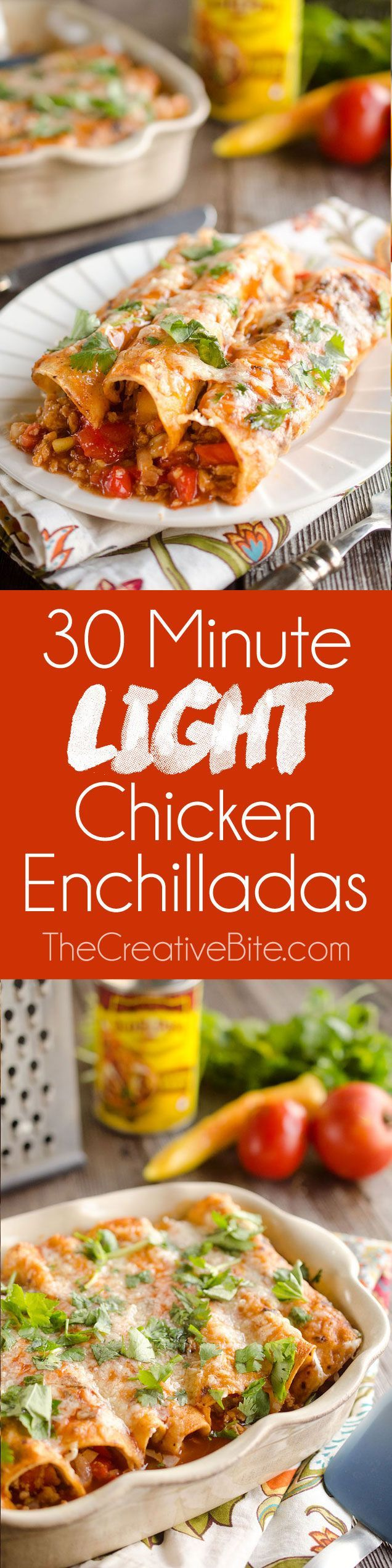 30 Minute Light Chicken Enchiladas are full of crumbled chicken & vegetables and a spicy enchilada sauce for an easy and healthy weeknight dinner! #Healthy #Chicken #Enchiladas