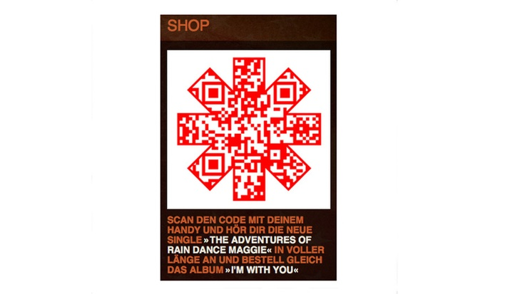 Scan to hear a sample from the new red hot chilly peppers album QR Code, german, scannen für Hörprobe des neuen Red Hot Chili Pepper-Songs