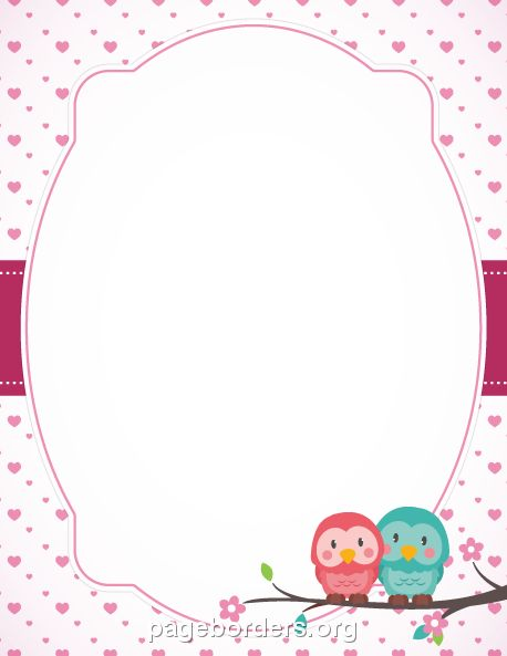 Printable Valentine owl border. Use the border in Microsoft Word or other programs for creating flyers, invitations, and other printables. Free GIF, JPG, PDF, and PNG downloads at  http://pageborders.org/download/valentine-owl-border/