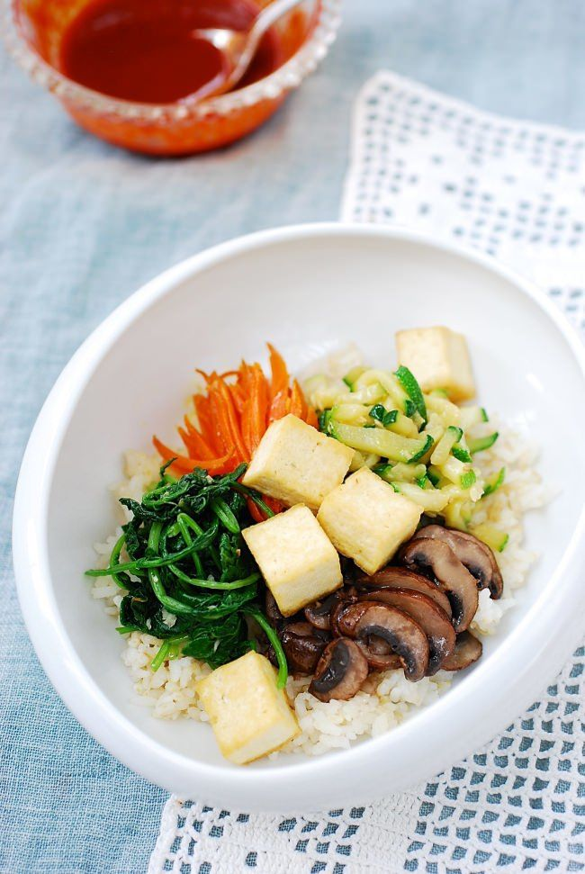 Easy bibimbap - add tofu or fish or beef - whatever suits your fancy!