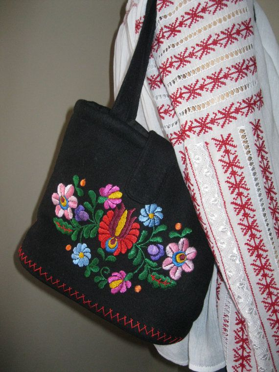 Hand embroidered Hungarian Matyo Kalocsa purse / by RealRomania