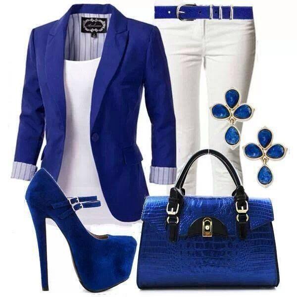 Синий Белые джинсы Синяя сумка Синие туфли Blue