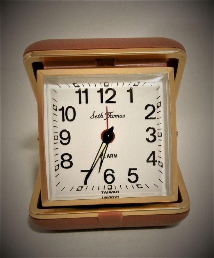 VTG Seth Thomas Compact Folding Windup Travel Alarm Clock Brown Clam Shell MINT