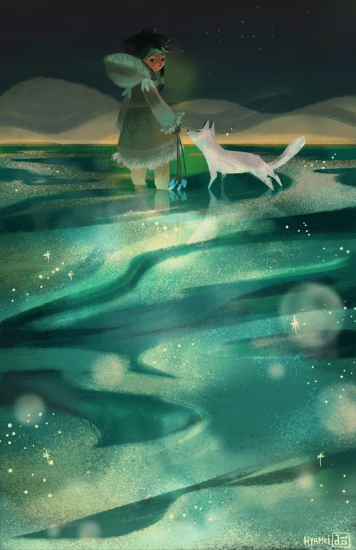 "little Nuna and her fox friend from the game ""Never Alone"" (Kisima Inŋitchuŋa) a beautiful and educational game which explores the culture and lore of the Alaskan natives, the Iñupiaq. I highly recommend this lovely game!"