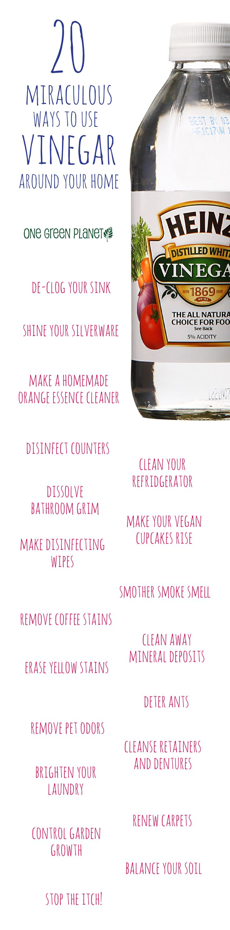 PLEASE do NOT consume synthesized vinegar. Use only organic Apple Cider Vinegar in food. Use the cheap synthetic vinegar for all of the household uses listed.  Also: you can get a good deal of the pesticides off non-organic produce by soaking them in a sinkful of water into which you add: 1/2 cup Vinegar (synthetic is fine for this use as you'll rinse it off), 1 Tbs. white Salt (ditto. White salt isn't for eating, but you'll wash it off), 2 Tbs. Baking Soda.
