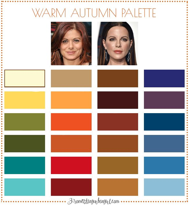 Best colors for Warm Autumn seasonal color women; Warm Autumn color palette | #WarmAutumn #colorpalette