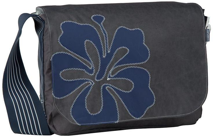 Canvasco Urban Bag Canvas L Braun navy Hibiskus - Umhängetasche
