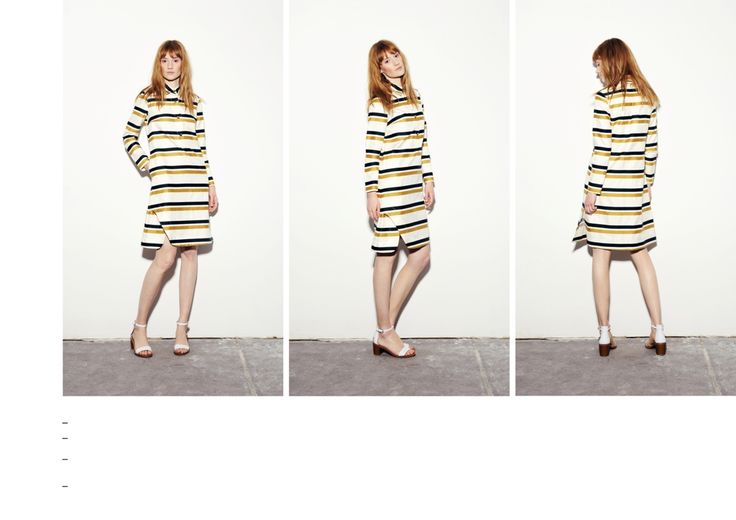 Gold-dark green striped long sleeved dress with asymmetrical slit detail