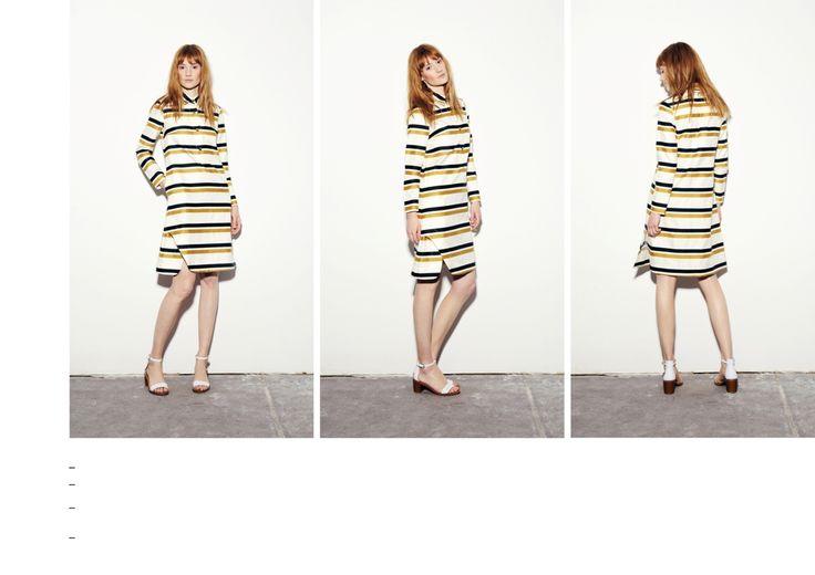 Gold-dark green striped long sleeved dress with asymmetrical slit detail